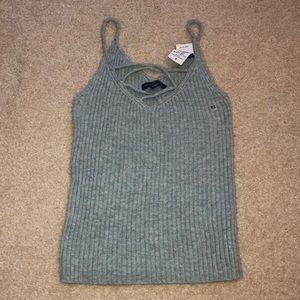 light blue knitted tank top
